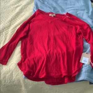 True craft red long sleeve top
